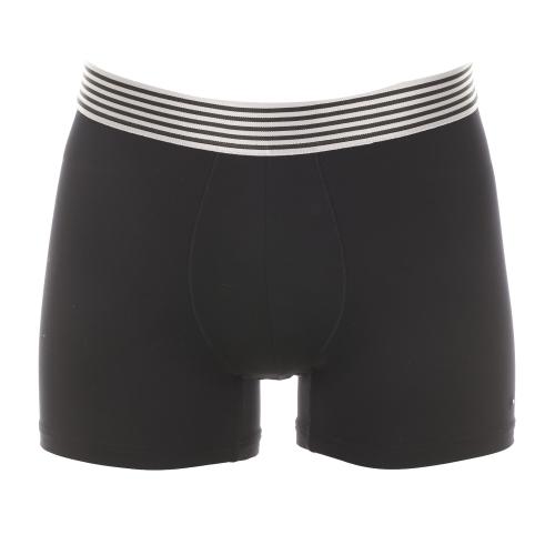 Boxer  en polyamide noire � ceinture ray�e grise et noire