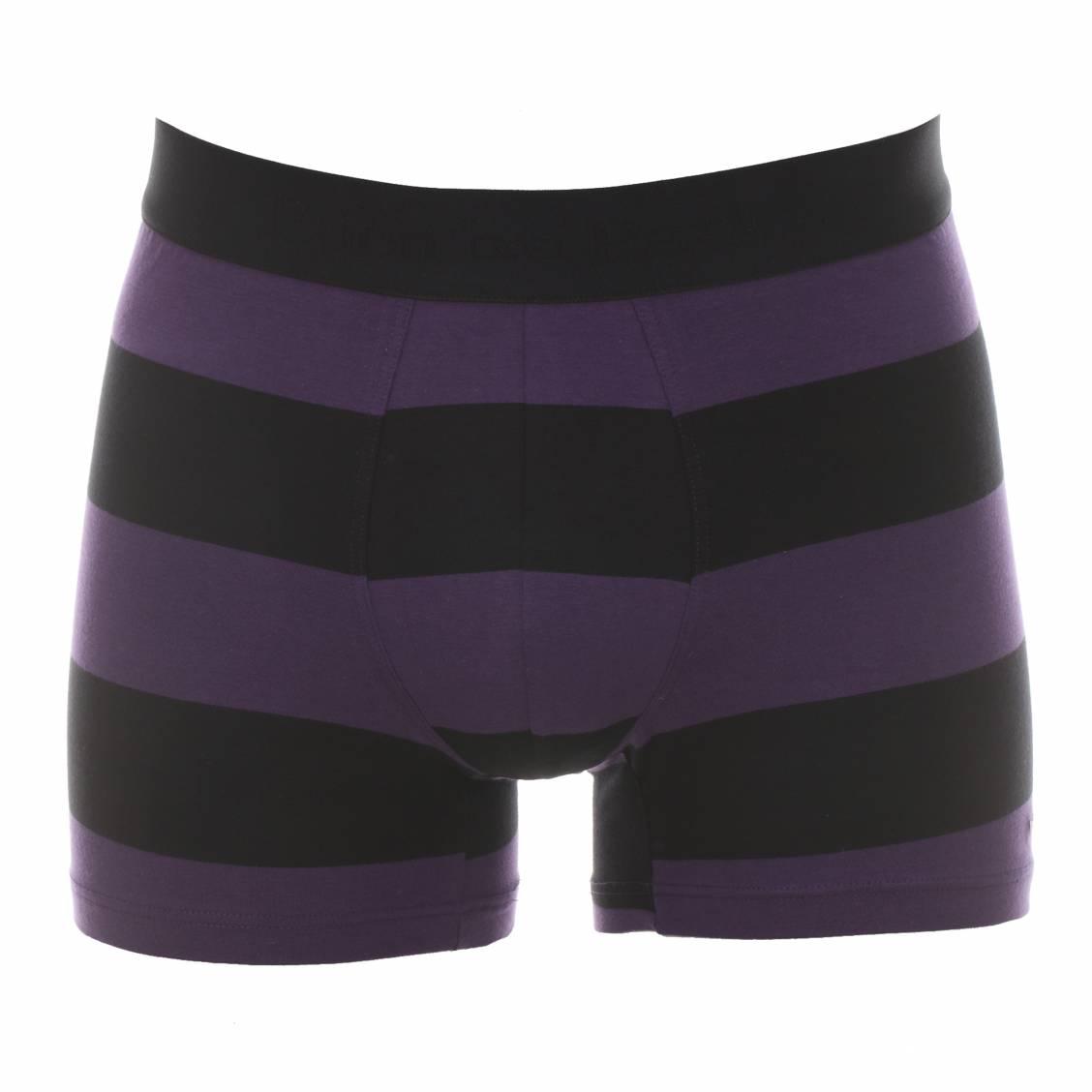 Boxer  en coton à larges rayures noires et violettes