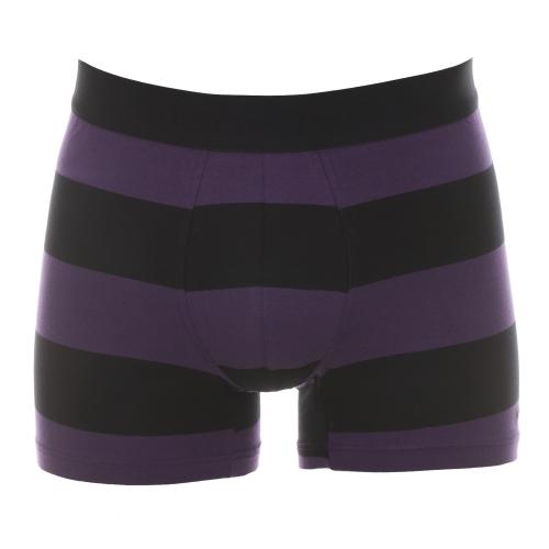 Boxer  en coton � larges rayures noires et violettes