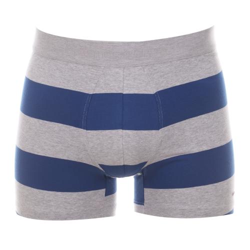 Boxer  en coton � larges rayures grises et bleu �lectrique