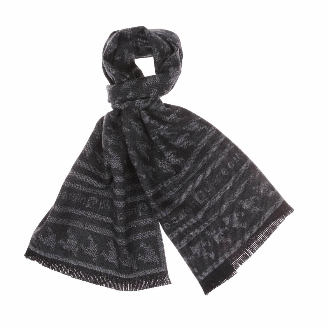 Echarpe  en laine anthracite à motifs