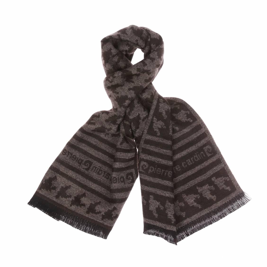 Echarpe  en laine marron à motifs