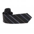 Cravate Pierre Cardin en soie noire à rayures bleues, blanches et noires