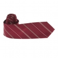 Cravate Pierre Cardin en soie bordeaux à rayures blanches, beiges et bordeaux