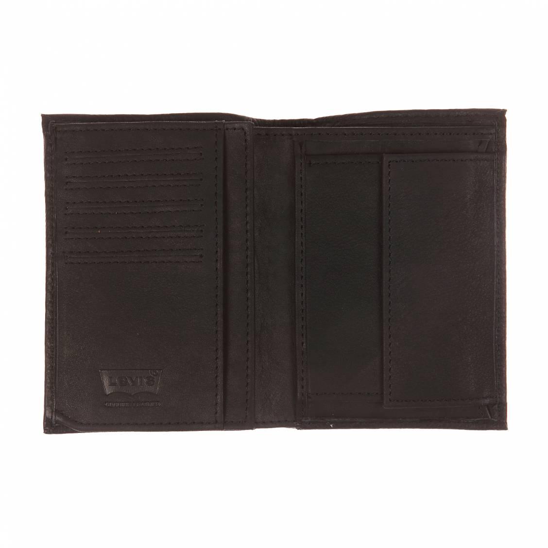 Portefeuille Levi's en cuir grainé noir