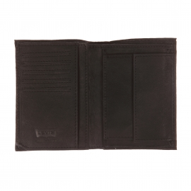 Portefeuille européen 3 volets Levi's en cuir grainé noir