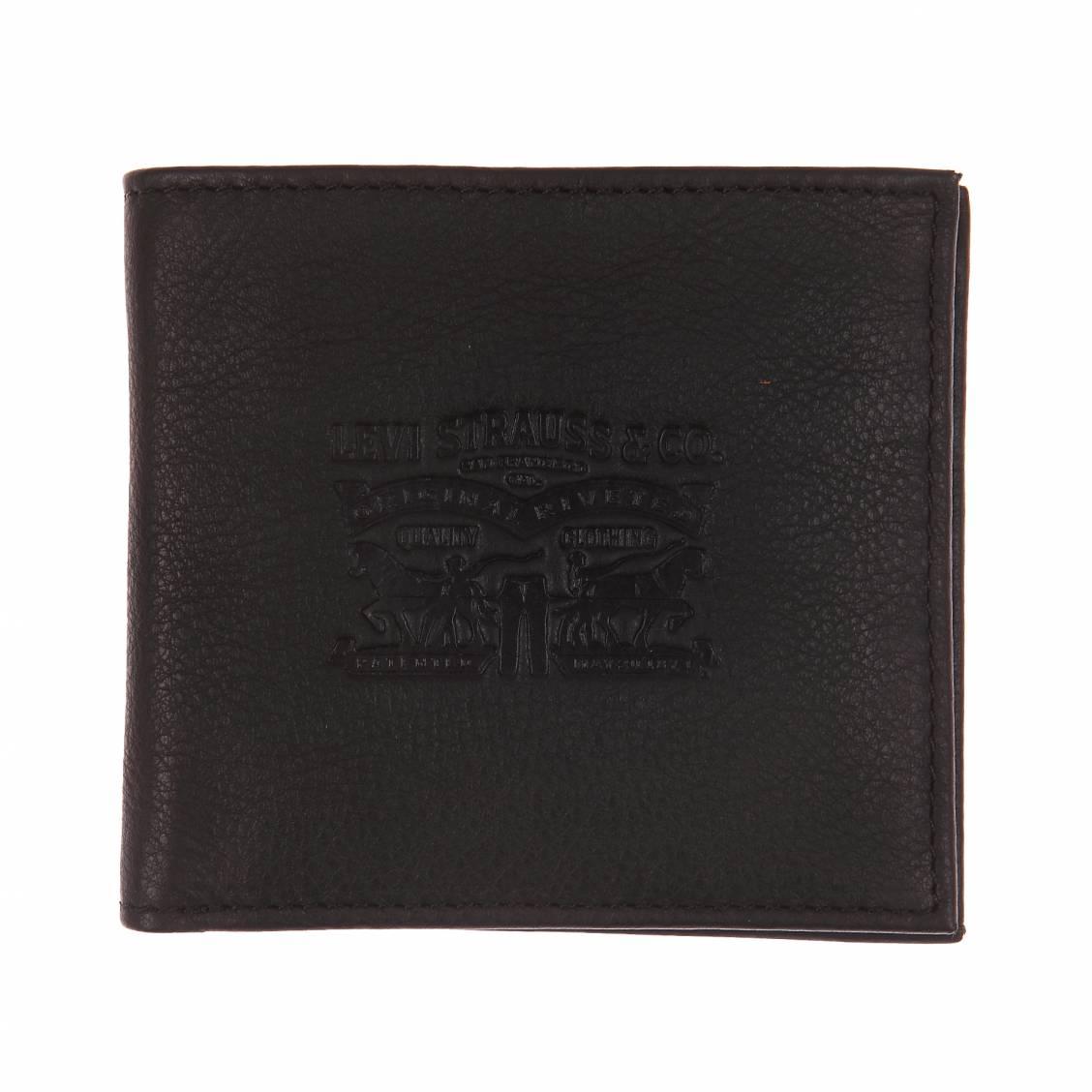 Portefeuille italien Levi's en cuir marron à intérieur en jean et porte-monnaie intégré hTuyN1