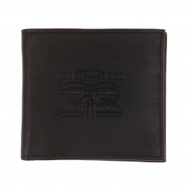 Portefeuille italien 2 volets Levi's en cuir noir à porte-monnaie