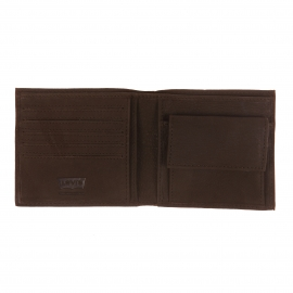 Portefeuille italien 2 volets Levi's en cuir marron à porte-monnaie