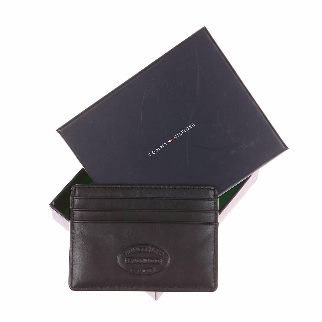 porte-cartes Tommy Hilfiger en cuir noir