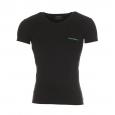 Tee-shirt col V Emporio Armani noir floqué en vert au dos