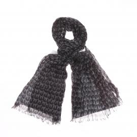 Chèche léger Jean Chatel à motifs chiens gris sur fond noir