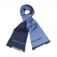 Echarpe bleu marine à opposition bleu clair siglée Pierre Cardin