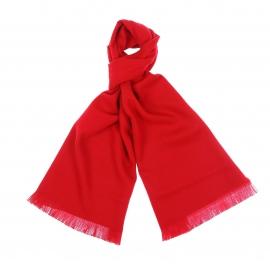 Echarpe unie rouge à petites franges