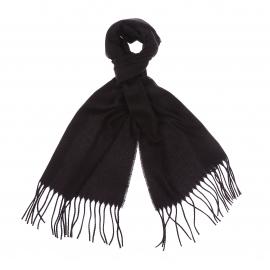Echarpe en laine d'agneau et angora noir à franges
