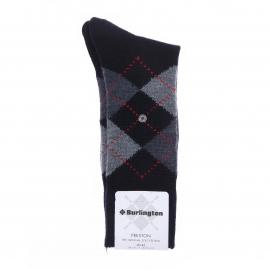 Chaussettes chaudes Burlington Preston bleu marine à losanges gris et rouges