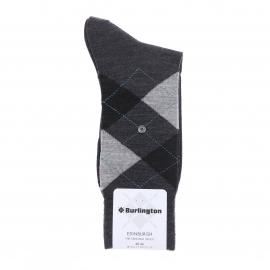 Chaussettes chaudes Burlington Edinburgh en laine vierge anthracite à losanges gris