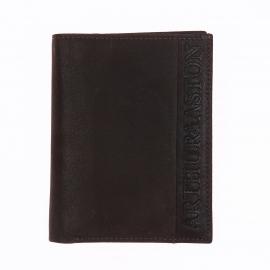 Petit portefeuille européen à 3 volets Arthur&Aston en cuir marron
