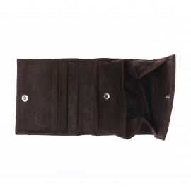 Porte-monnaie carré à 2 volets Arthur&Aston en daim marron