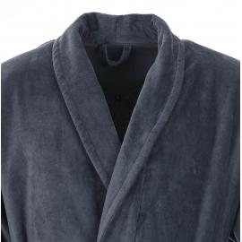 Peignoir éponge bi-matière Vossen 100% coton anthracite