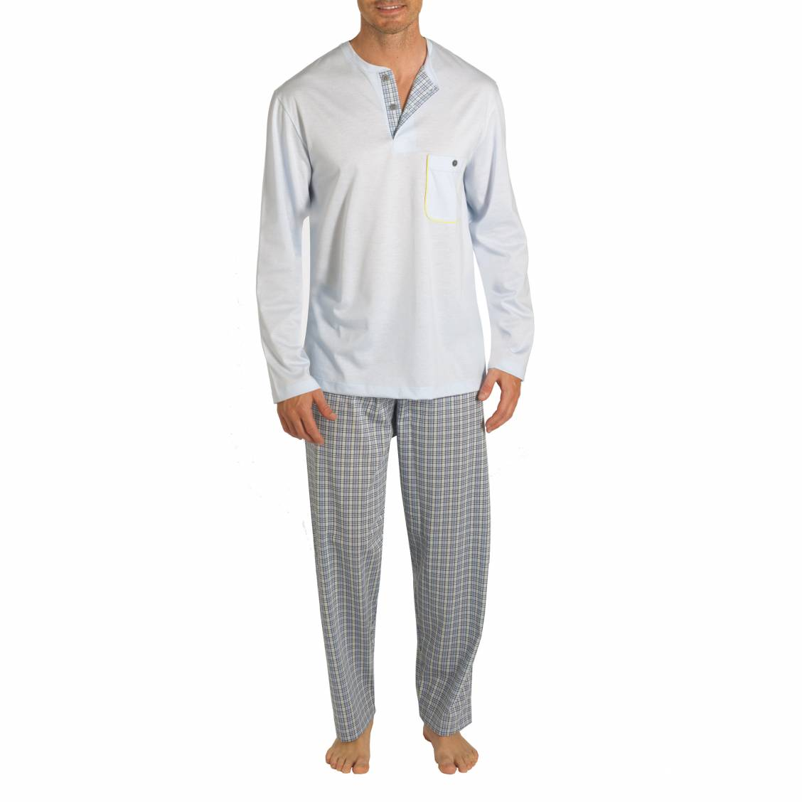 Pyjama long eminence 100 jersey de coton merceris bleu for Pyjama carreaux