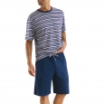 Pyjama court Athena 100% jersey de coton à rayures marine, mauve et blanches, Bermuda bleu marine