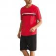 Pyjama court Athena 100% jersey de coton rouge et bermuda noir