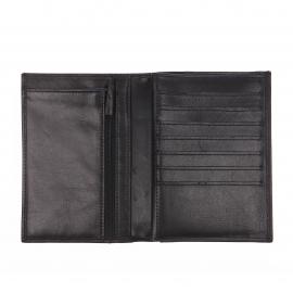 Portefeuille européen à 4 volets Arthur&Aston en cuir lisse noir