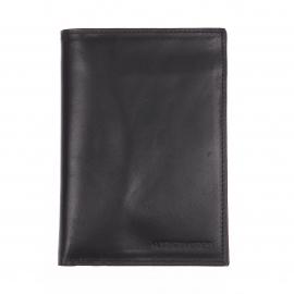 Portefeuille européen à 3 volets Arthur&Aston en cuir lisse noir
