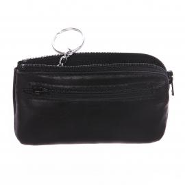 Porte-monnaie zippé à porte-clef Arthur&Aston en cuir lisse noir
