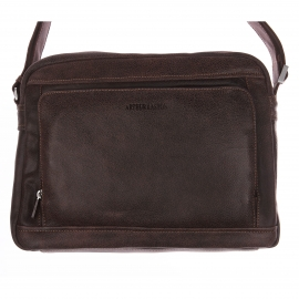 Porte-documents Arthur & Aston en cuir souple marron foncé