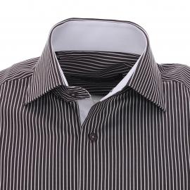 Chemise cintrée Gianni Ferrucci en coton blanc à rayures chocolat