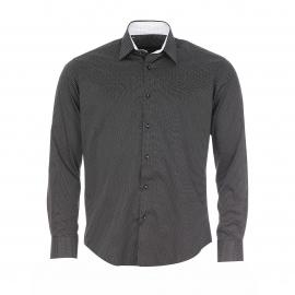 Chemise cintrée Gianni Ferrucci noire à petits pois blancs