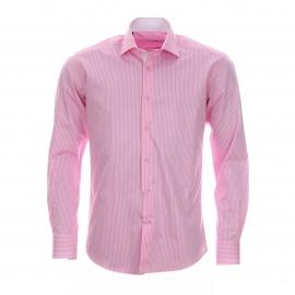 Chemise cintrée Gianni Ferrucci en coton blanc à rayures roses