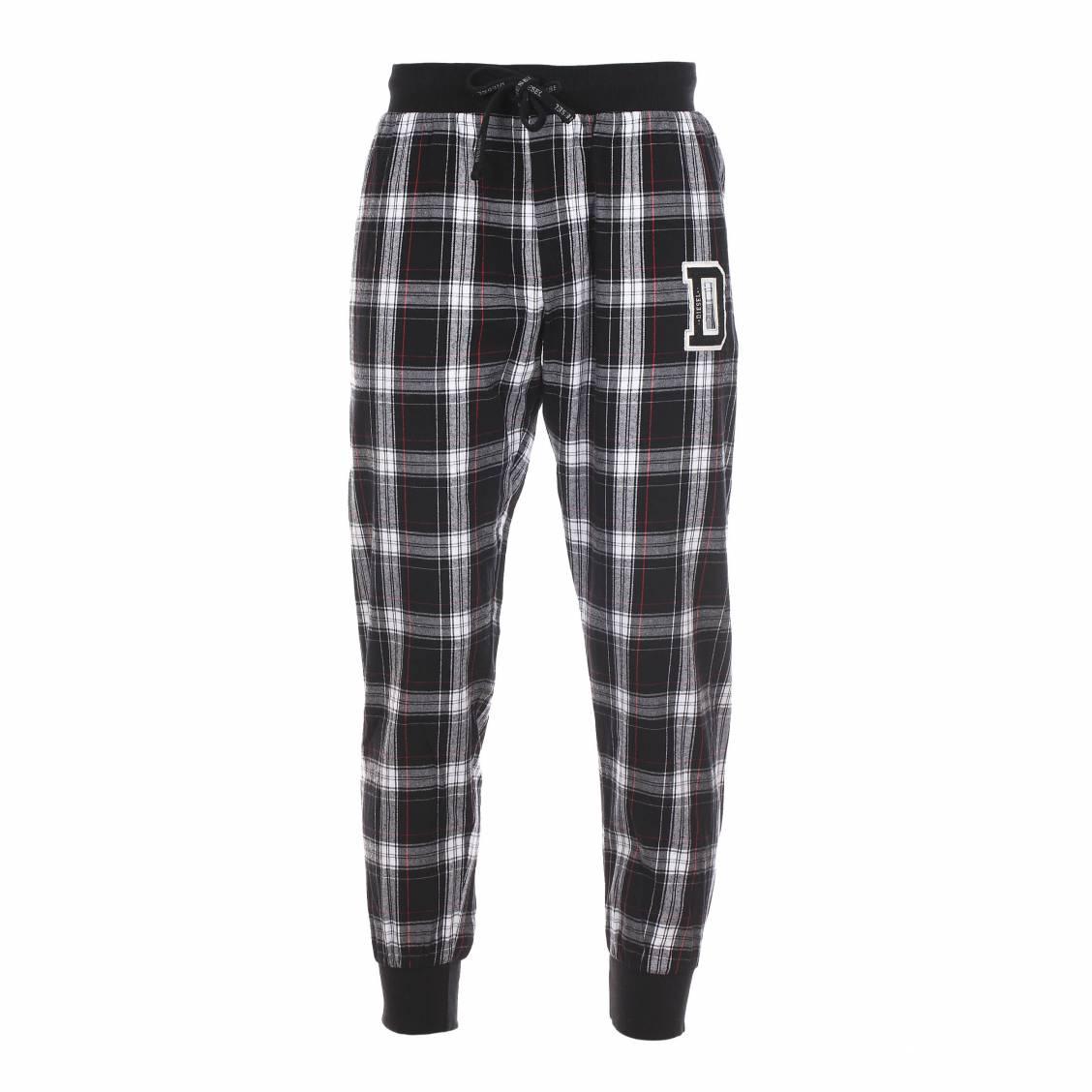 pantalon d 39 int rieur diesel 100 coton noir carreaux rouges et blancs rue des hommes. Black Bedroom Furniture Sets. Home Design Ideas