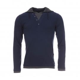 Tee-shirt à capuche Troy Teddy Smith en coton bleu marine et anthracite