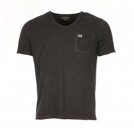 Tee-shirt col rond MCS en coton marron délavé