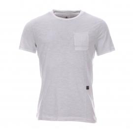 Tee-shirt col rond Nuelik G-Star en coton flammé blanc à poche