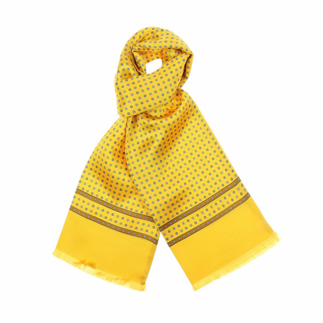 Echarpe en soie jaune à motifs ronds bleus et jaune pâle