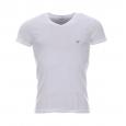 Tee-shirt col V Emporio Armani en coton blanc