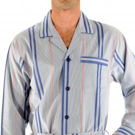 Pyjaveste Erythree Christian Cane 100% coton blanc à rayures bleu jean et rouges