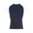 Tee-shirt col rond Emporio Armani en coton stretch bleu marine à manches blanches
