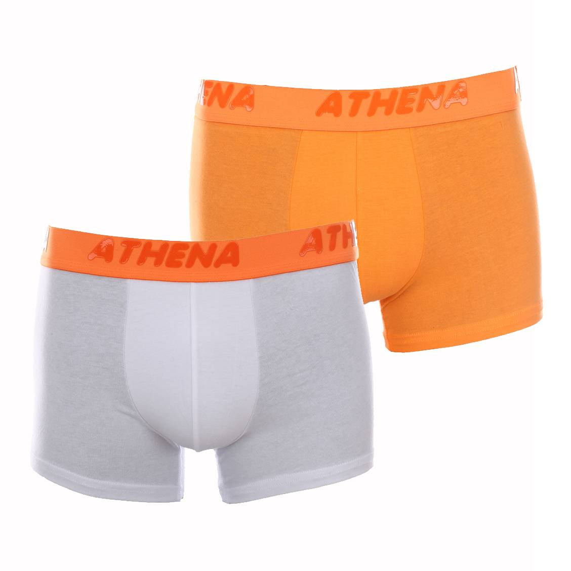 Boxers Athena en coton stretch orange et blanc