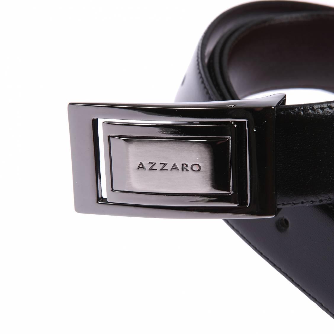 ... Ceinture Azzaro ajustable en cuir noir réversible marron à boucle  rectangulaire argentée f77a7f30527