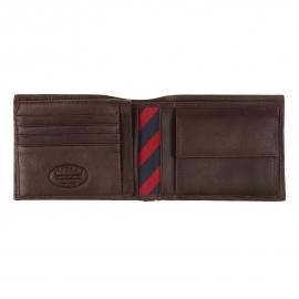 Portefeuille italien Johnson Tommy Hilfiger en cuir texturé marron à porte-monnaie