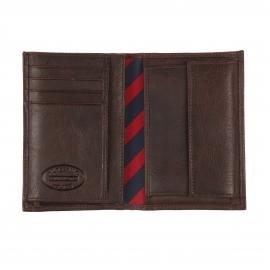 Portefeuille Européen Johnson Wallet Tommy Hilfiger en cuir texturé marron