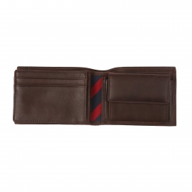 Petit portefeuille italien Johnson Mini Tommy Hilfiger en cuir texturé marron