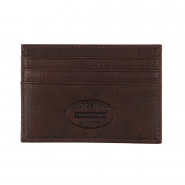 Porte-carte plat Johnson Holder Tommy Hilfiger en cuir texturé marron
