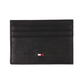 Porte-cartes plat Johnson Holder Tommy Hilfiger en cuir texturé noir