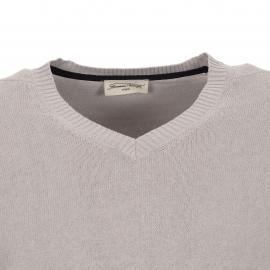 Pull col V Liberty Road American Vintage, bi-matière : coton et lin gris clair